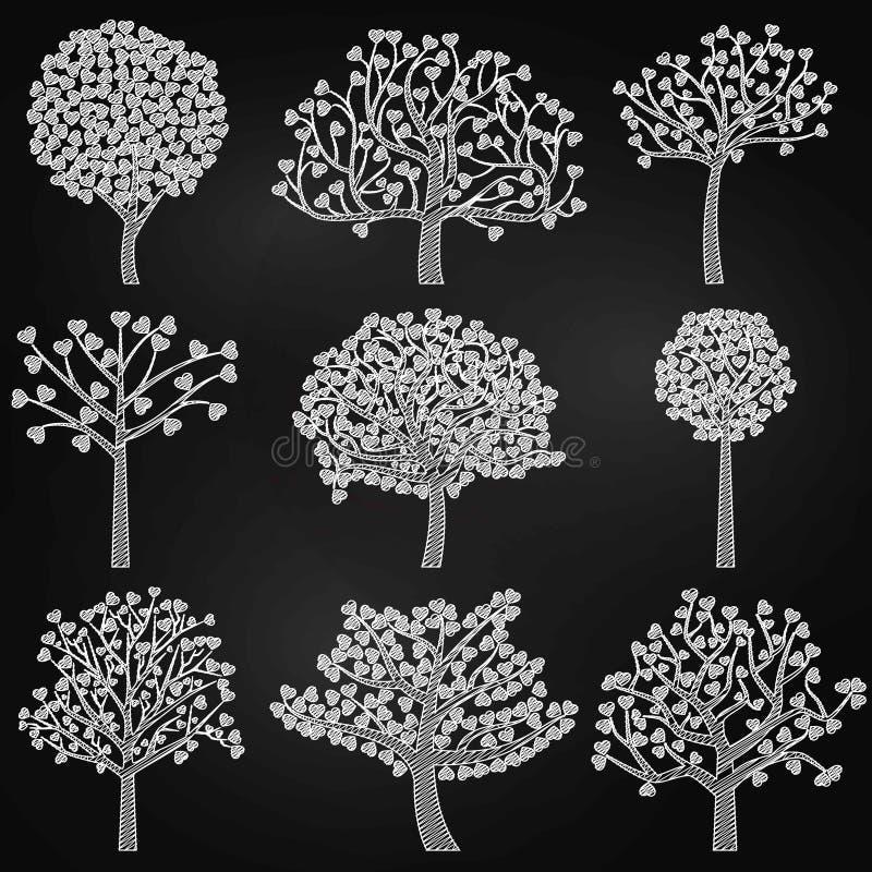 Chalkboard walentynki ` s dnia Drzewne sylwetki z sercem Kształtującym Opuszczają ilustracji