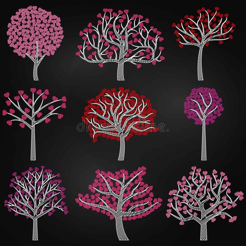 Chalkboard walentynki ` s dnia Drzewne sylwetki z sercem Kształtującym Opuszczają royalty ilustracja