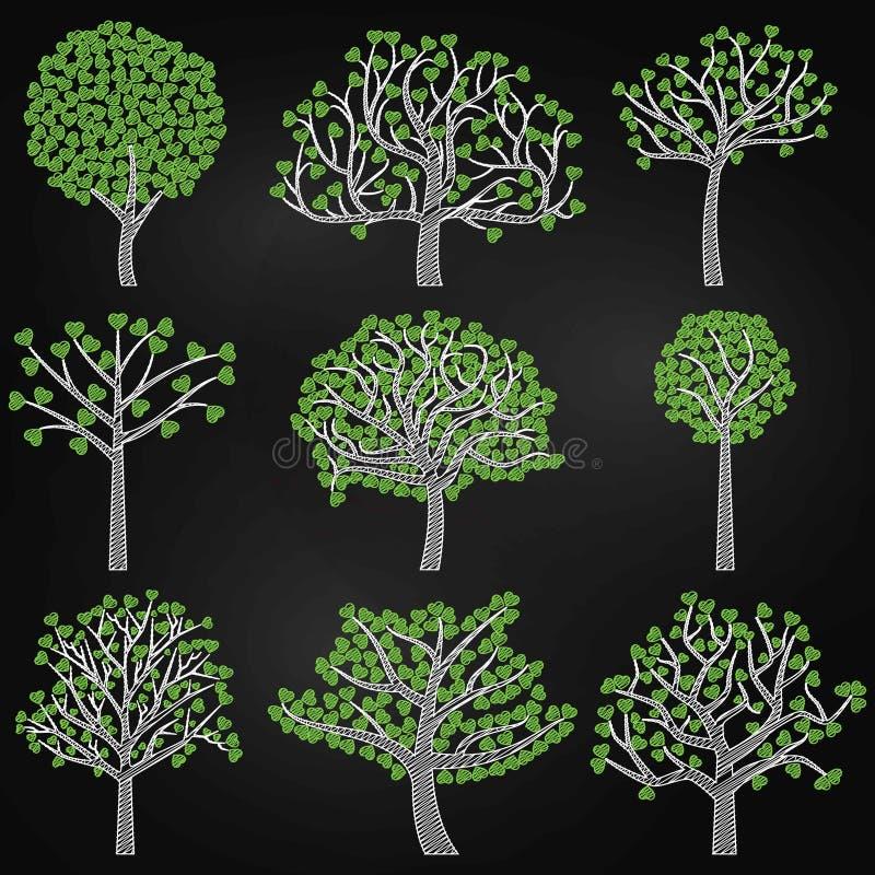 Chalkboard walentynki ` s dnia Drzewne sylwetki z sercem Kształtującym Opuszczają ilustracja wektor