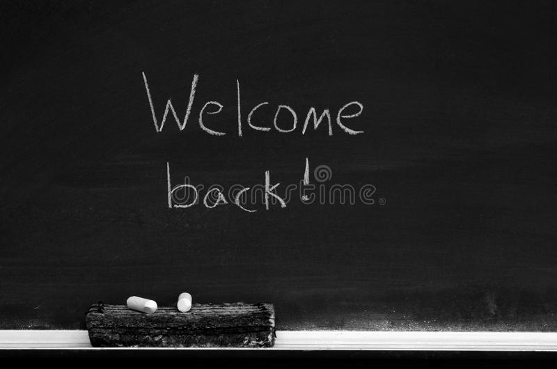Download Chalkboard With Welcome Back Sign Stock Photo - Image: 26542902