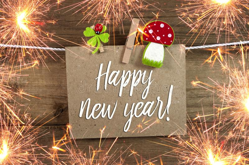 Happy New Year, New Years Eve Greeting Card stock image