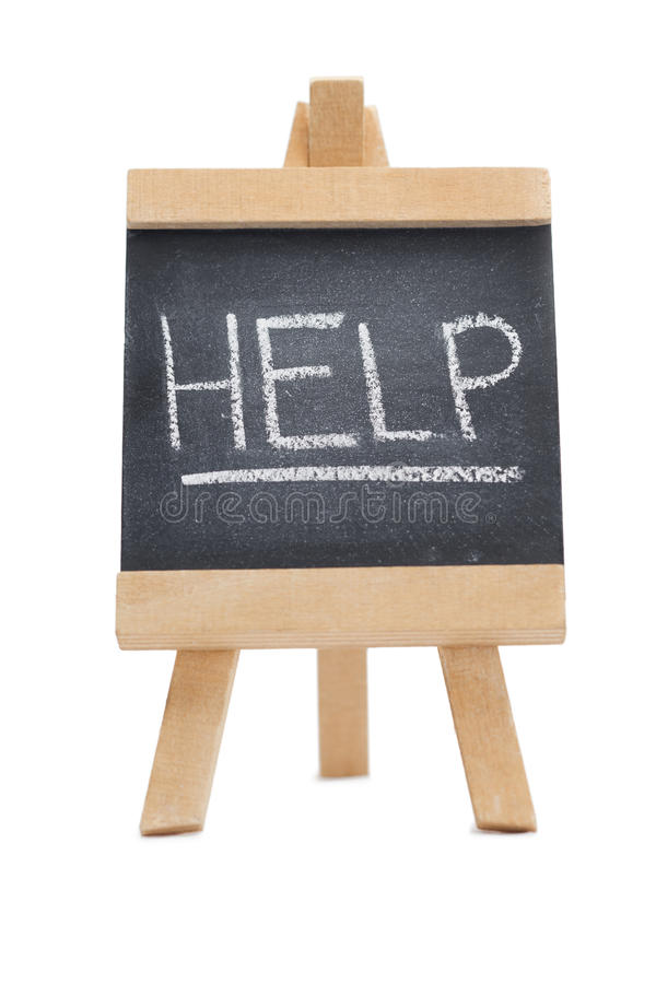 Chalkboard with the word help written on it stock images