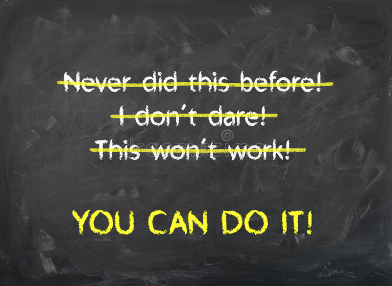 Chalkboard - You can Do it - Motivation stock photography