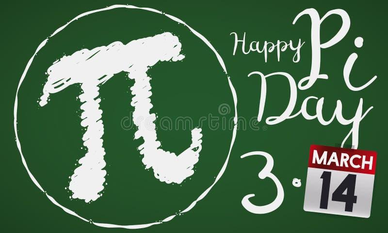Chalkboard z Pi symbolem i kalendarz dla Pi dnia świętowania, Wektorowa ilustracja royalty ilustracja