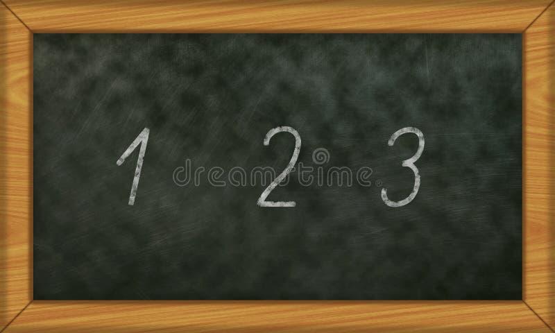 Chalkboard z pierwszy liczy 1, 3 ilustracja wektor