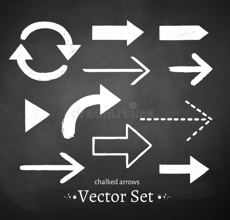 Chalked arrows set vector illustration
