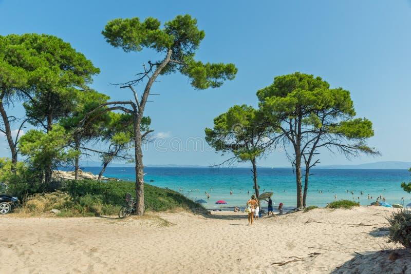 CHALKIDIKI, ŚRODKOWY MACEDONIA GRECJA, SIERPIEŃ, - 26, 2014: Seascape Karidi plaża Vourvourou przy Sithonia półwysepem, Chalkidik obrazy stock