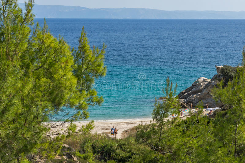 CHALKIDIKI, CENTRAL MACEDONIA, GREECE - AUGUST 26, 2014: Seascape of Fava Beach Vourvourou at Sithonia peninsula, Chalkidiki. Central Macedonia, Greece stock photo