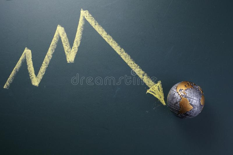 Economy crisis concept -graph pointing down on globe stock image
