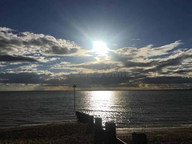 Chalkwell strand, Southend på havet, Essex royaltyfri bild
