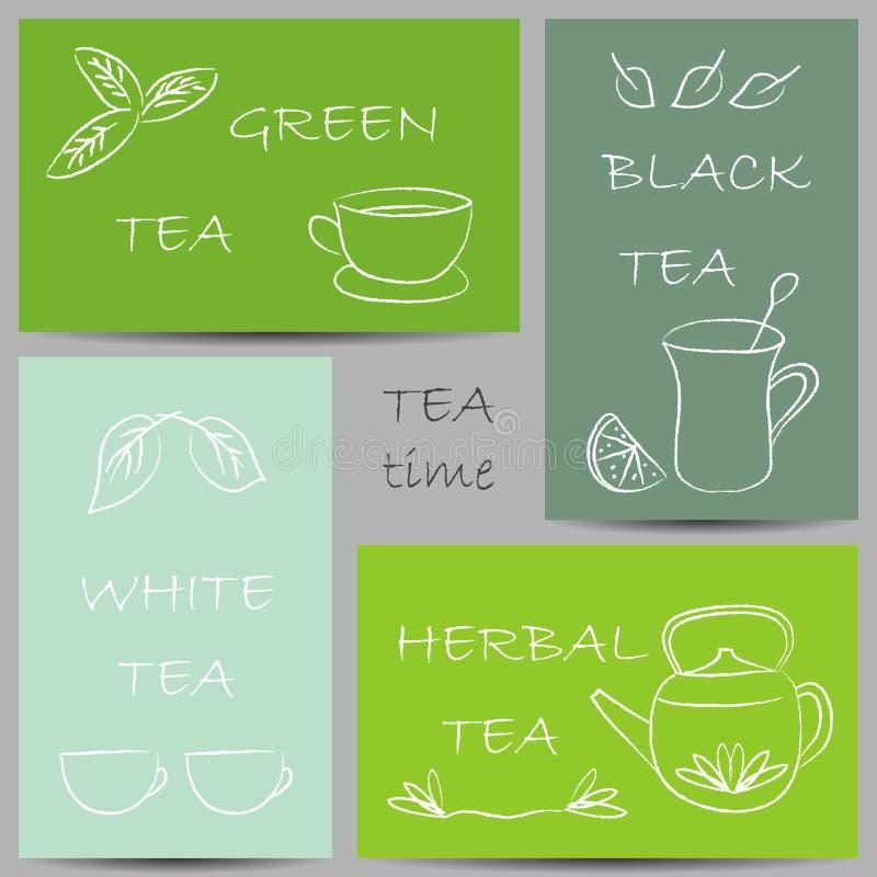 Chalky klotter för te på baner vektor illustrationer