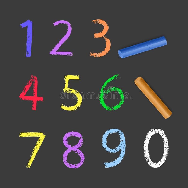 Chalky Numbers of one to zero, chalk texture on dark background, vector illustration stock illustration