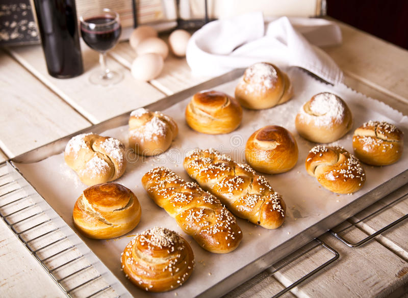 Challah for Shabbat. Challah in different shapes and sizes for the Sabbath and Rosh Hashanah stock photos