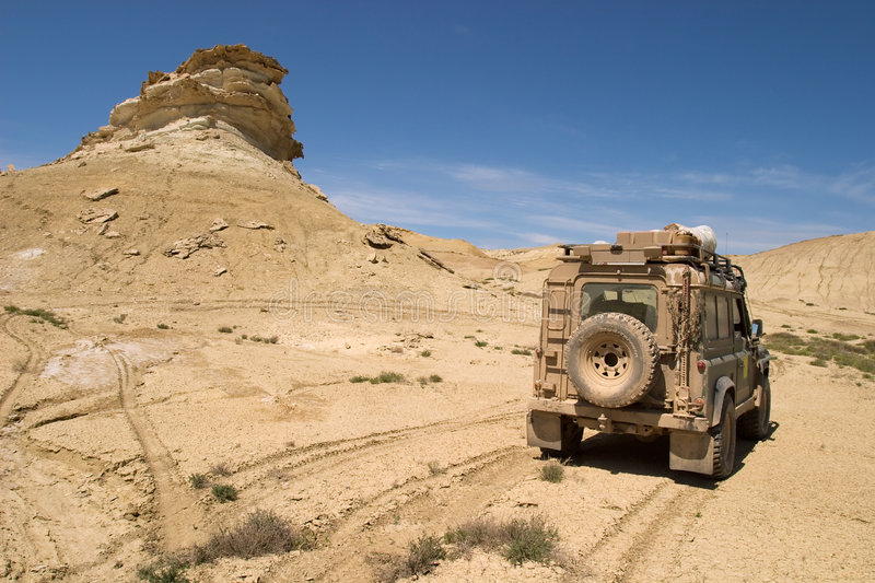 Challenge. 4x4 off-roading in Kazakhstan royalty free stock photography