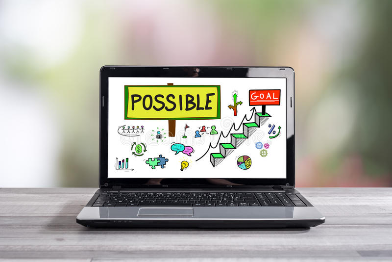 Challenge concept on a laptop screen stock photo