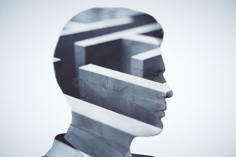 Challenge concept. Side view of young businessman and maze on light background. Challenege concept. Double exposure stock images