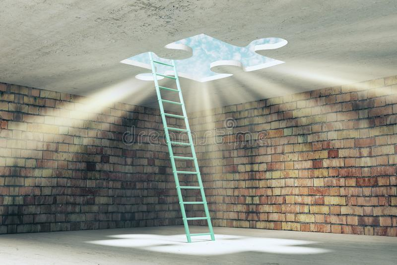 Challenge and escape concept. Abstract brick prison interior with ladder and missing puzzle way out with sunlight. Challenge and escape concept. 3D Rendering stock images
