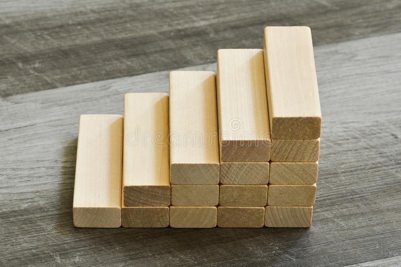 Challenge / Goal Concept - Stairway Upwards Of Building Blocks O royalty free stock photos