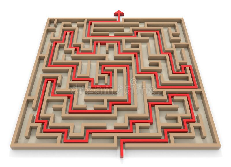 Arrow towards goal. Square maze. Huge maze. 3D rendering. stock illustration