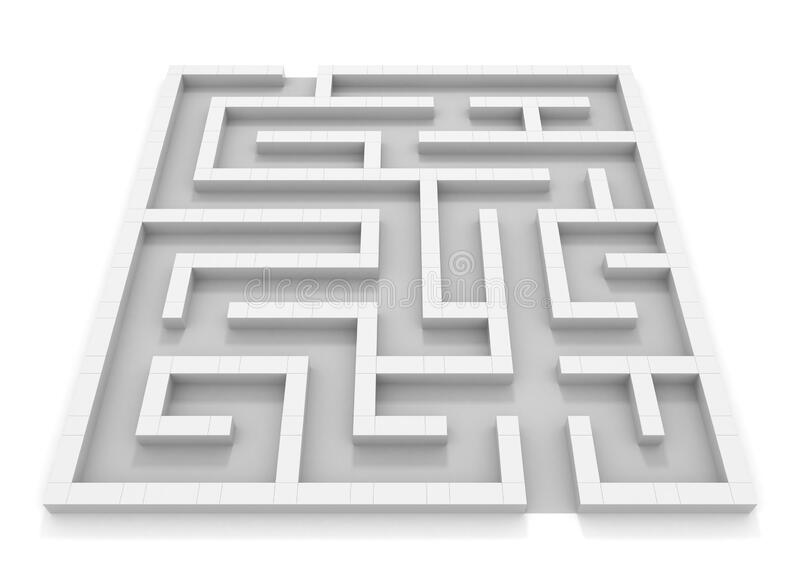 Square maze. White wall. Black and white. 3D rendering. stock illustration