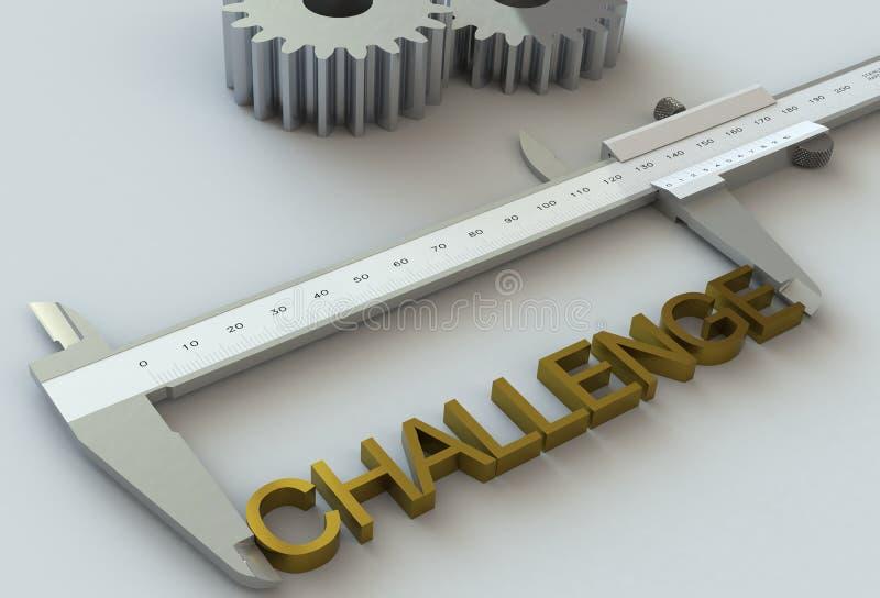 CHALLENGE, message on vernier caliper. 3d stock photo