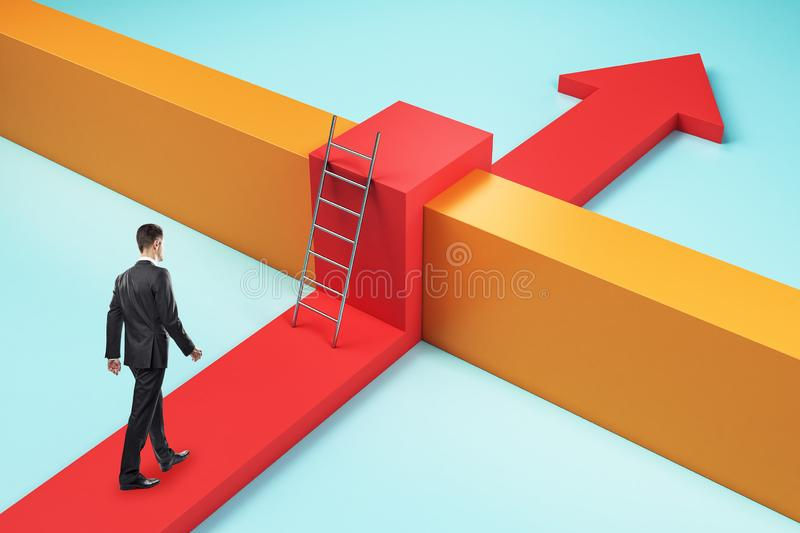 Challenge and obstacle concept. Businessman with red arrow going over orange fence. Challenge and obstacle concept royalty free stock images