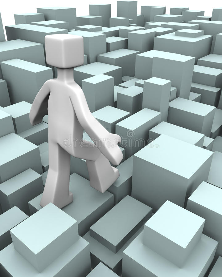 Challenge or overcome of difficulty concept. Man walking through uneven blocks overcome of difficulty concept 3d illustration royalty free illustration