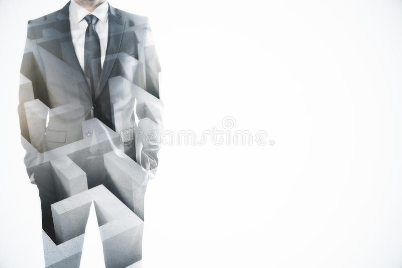 Challenge and success concept. Abstract image of businessman with maze. Challenge and success concept. Double exposure royalty free stock photography