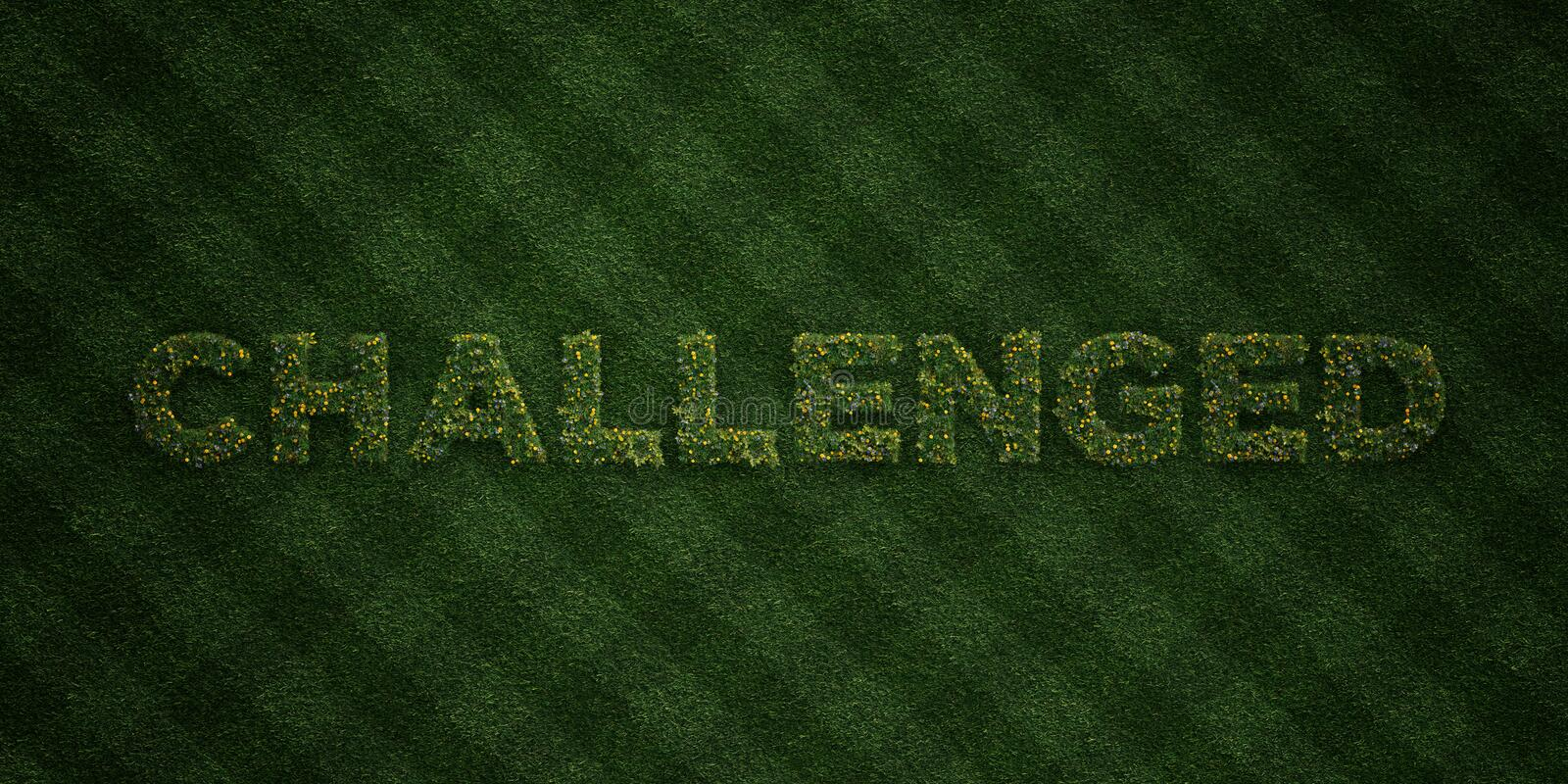 CHALLENGED - fresh Grass letters with flowers and dandelions - 3D rendered royalty free stock image. Can be used for online banner ads and direct mailers stock illustration