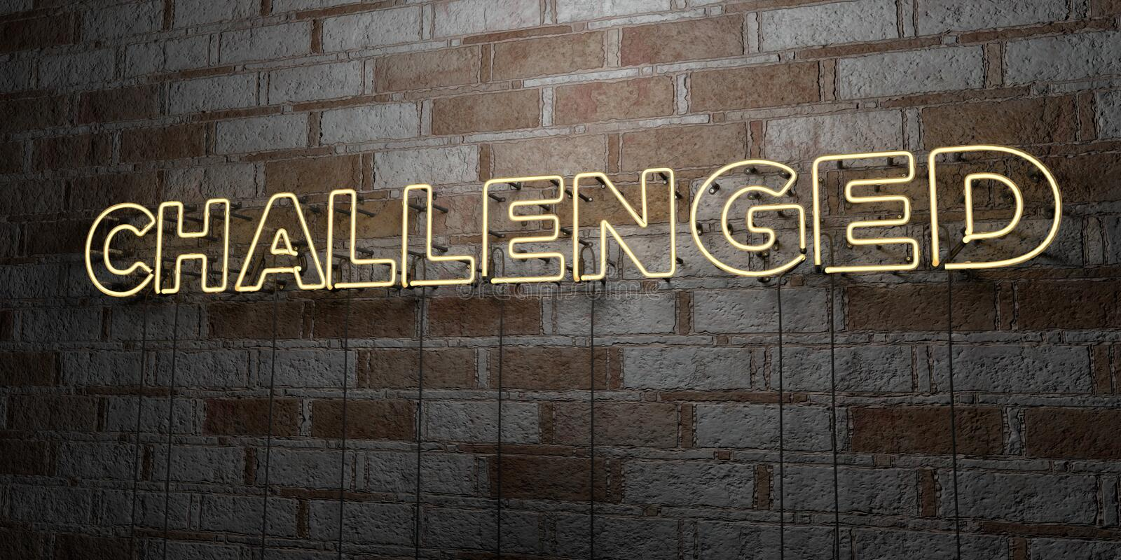 CHALLENGED - Glowing Neon Sign on stonework wall - 3D rendered royalty free stock illustration. Can be used for online banner ads and direct mailers vector illustration