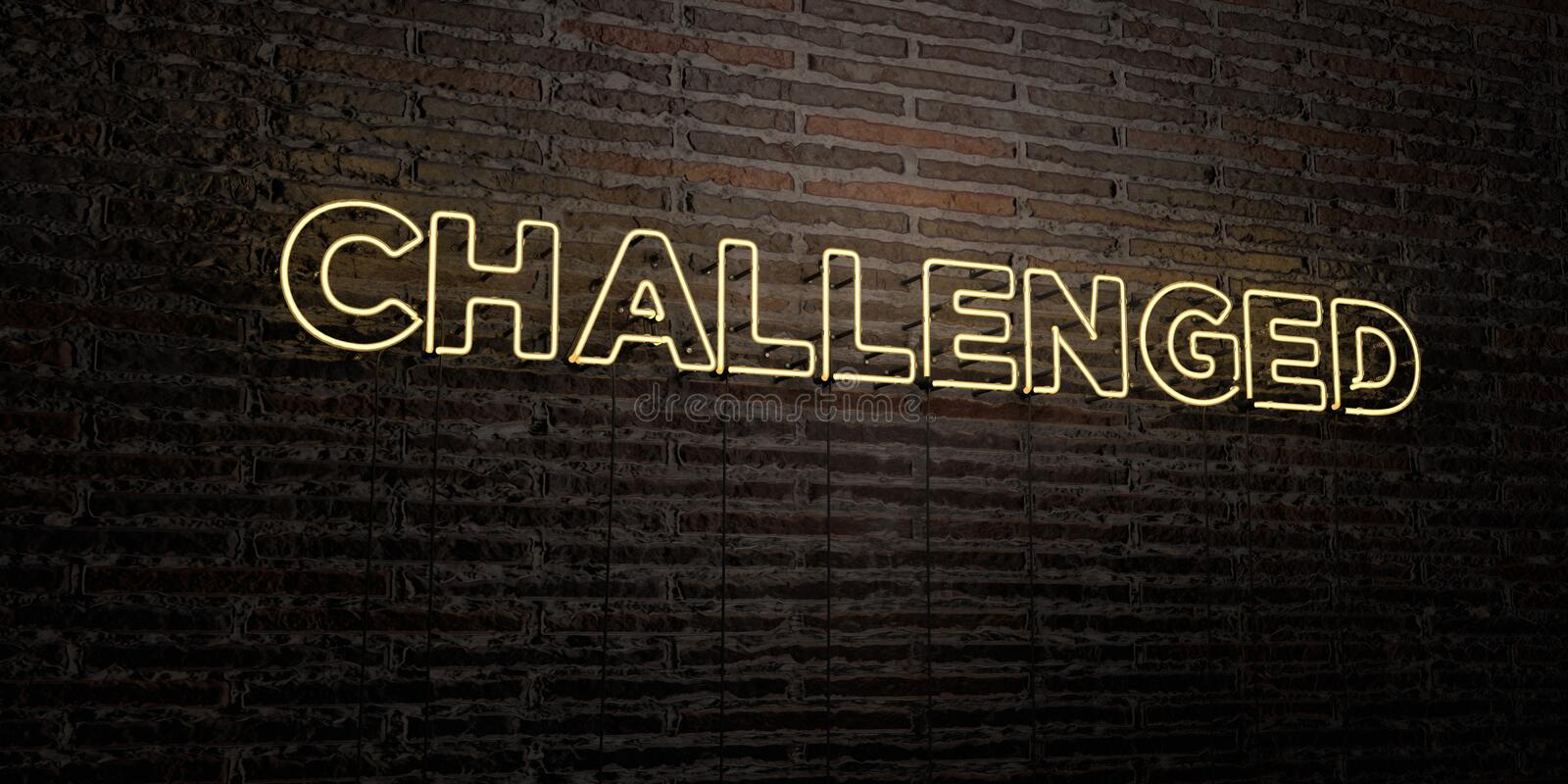 CHALLENGED -Realistic Neon Sign on Brick Wall background - 3D rendered royalty free stock image. Can be used for online banner ads and direct mailers stock illustration
