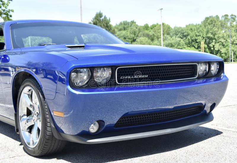 Challenger by Dodge front end. Front end of a 2019 Royal Blue Dodge Challenger with a Hemi V8 engine stock photos