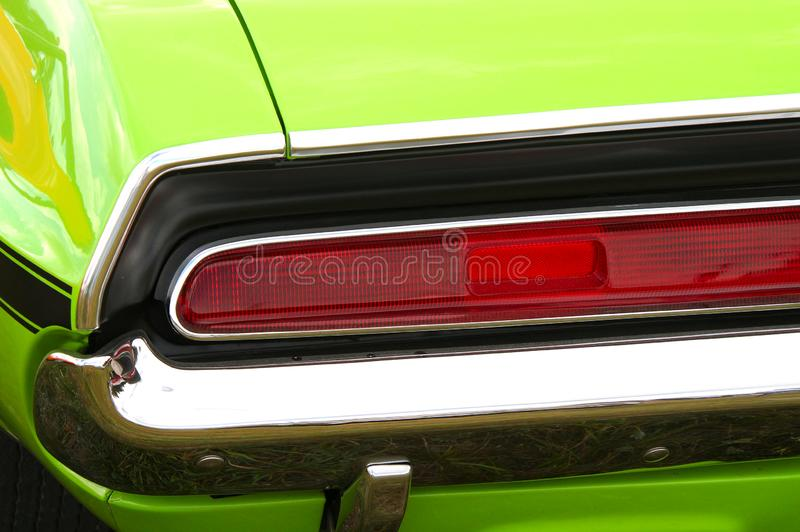 Challenger tail light. Red tail light or a green classic car at Pick-Nick 2018, Classic car show in Forssa, Finland. 05.08.2018 Forssa, Finland american antique royalty free stock photos