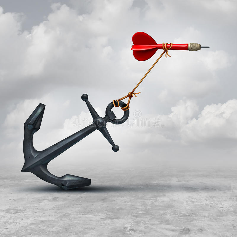 Challenges In Business. As a dart being slowed down by a heavy anchor as an adversity metaphor and symbol or overcoming a handicap to achieve your goal to reach stock illustration