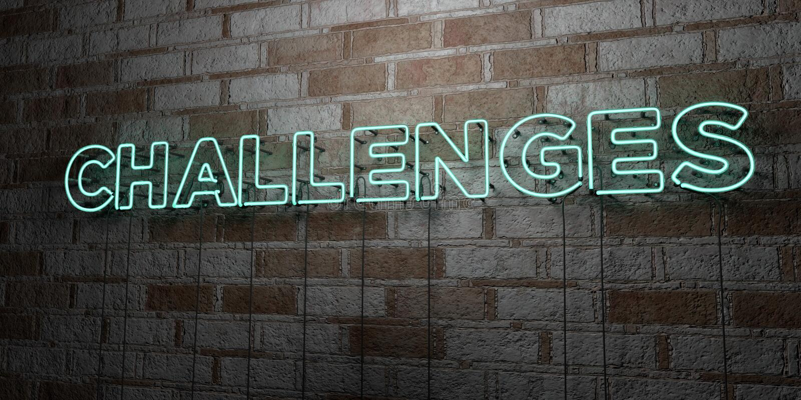 CHALLENGES - Glowing Neon Sign on stonework wall - 3D rendered royalty free stock illustration. Can be used for online banner ads and direct mailers stock illustration