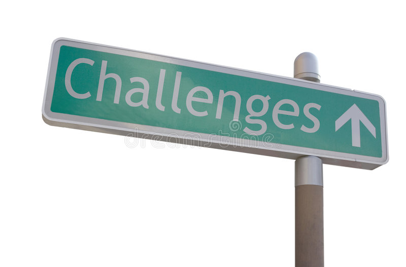 Challenges Sign. Street sign with an arrow and the word challenges royalty free stock images