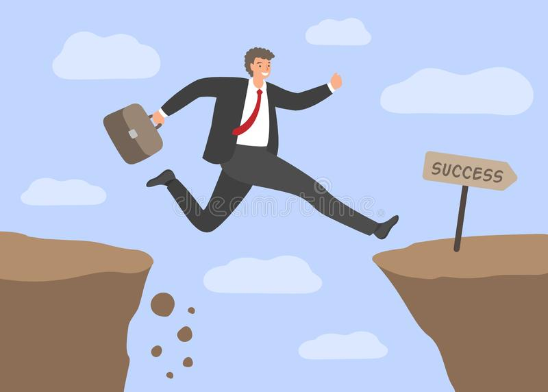 Challenges and success . Businessman Jumping over the abyss. Concept of business risks, overcoming obstacles in work. Hard way to success. Vector illustration royalty free illustration
