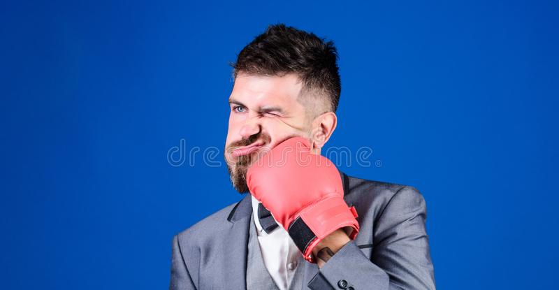 Challenging himself. powerful man boxer ready for corporate battle. businessman in formal suit and tie. knockout and. Energy. Fight. bearded man in boxing royalty free stock photos