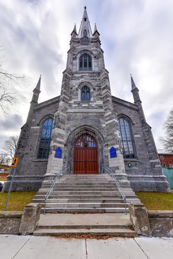 Chalmers-Wesley United Church - Quebec City, Canada. Chalmers-Wesley United Church is a gothic revival church located within the walls of Old Quebec City, Canada stock images