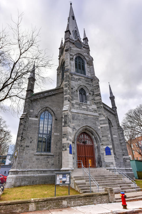 Chalmers-Wesley United Church - Quebec City, Canada. Chalmers-Wesley United Church is a gothic revival church located within the walls of Old Quebec City, Canada royalty free stock image