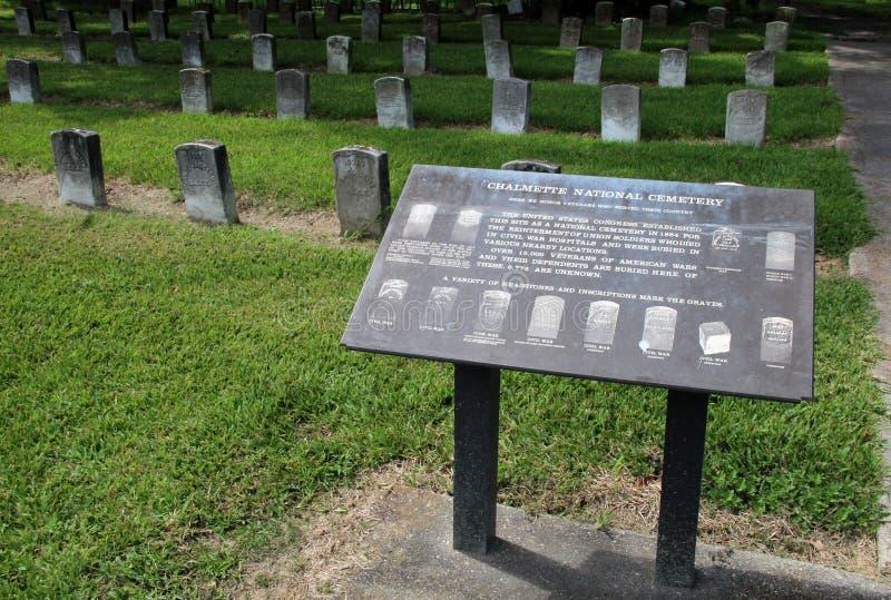 Chalmette Nationale Begraafplaats stock afbeelding