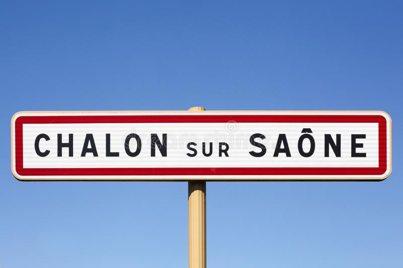 Chalon sur Saone city road sign, France. Chalon sur Saone city road sign in Burgundy, France royalty free stock images