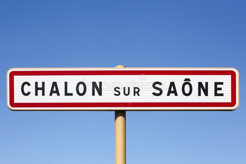 Chalon sur Saone City road sign, Frankrijk royalty-vrije stock afbeeldingen