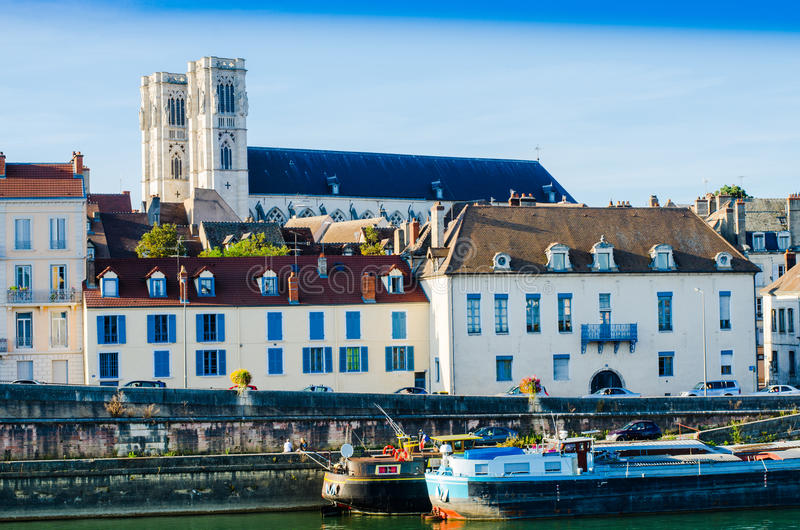 Chalon-sur-saone, France. An urban landscape of chalon-sue-Saone, France, burgundy, color royalty free stock image