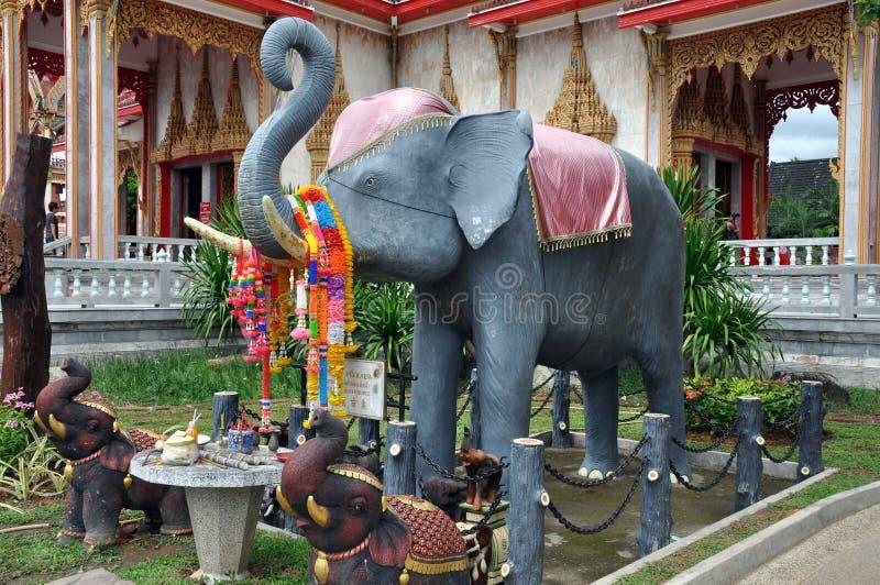 chalong大象普吉岛寺庙泰国wat 免版税图库摄影