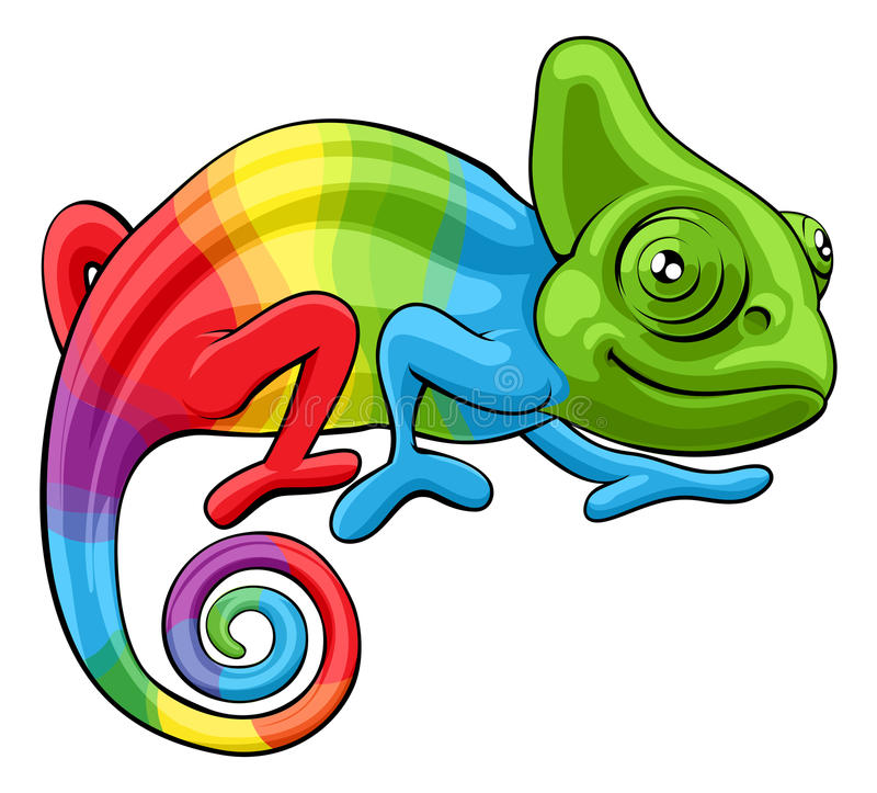 Chamäleon-Karikatur-Regenbogen-Charakter lizenzfreie abbildung