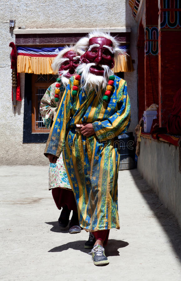 Cham dance at Lamayuru Gompa in Ladakh, India royalty free stock photography