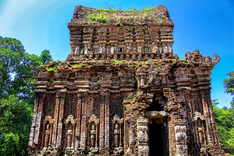 Cham Temple Ruins in Vietnam. Image of a ruined Cham temple at My Son Sanctuary - UNESCO World Heritage Site in Vietnam royalty free stock photography
