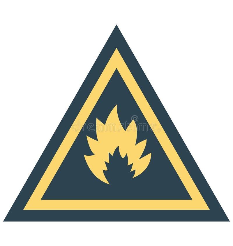 Chama, ícone isolado perigoso do vetor da cor que pode facilmente ser alterado ou editado ilustração do vetor