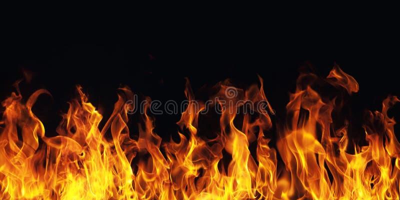 Chama ardente do fogo no fundo preto ilustração stock